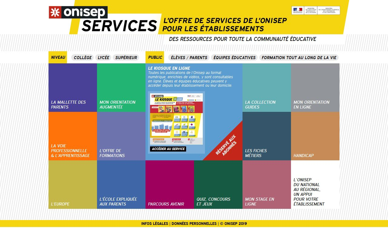 ONISEP Services - Page d'acceuil